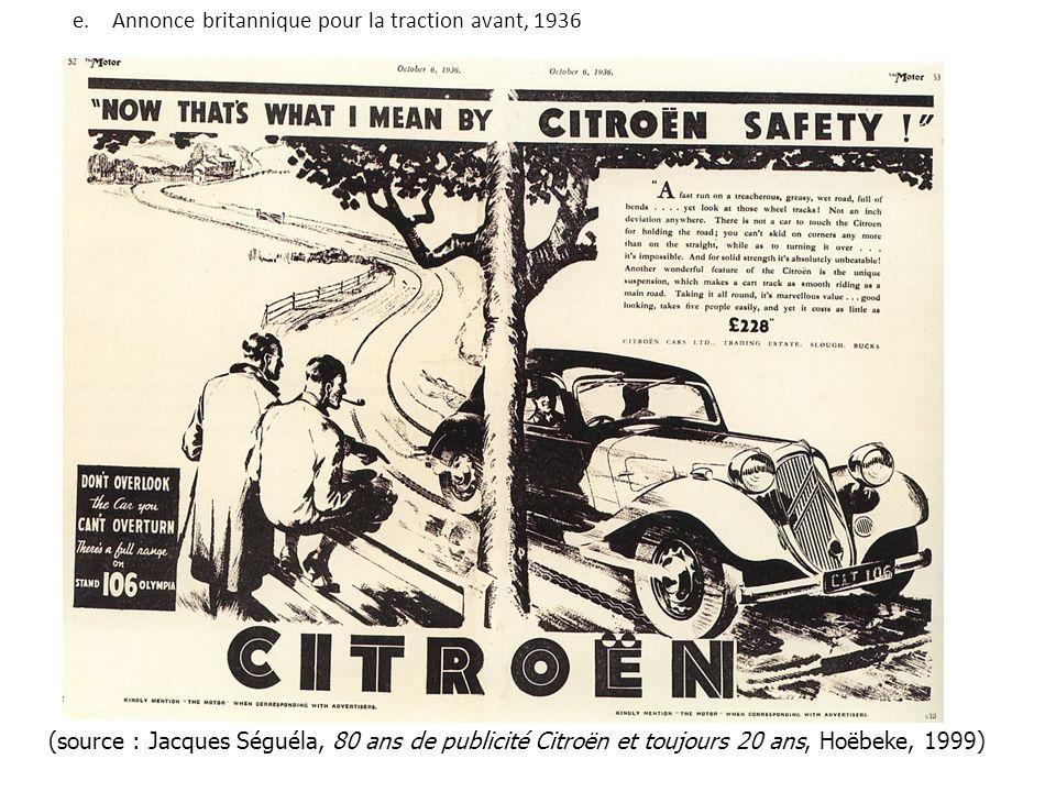 Annonce britannique pour la traction avant, 1936