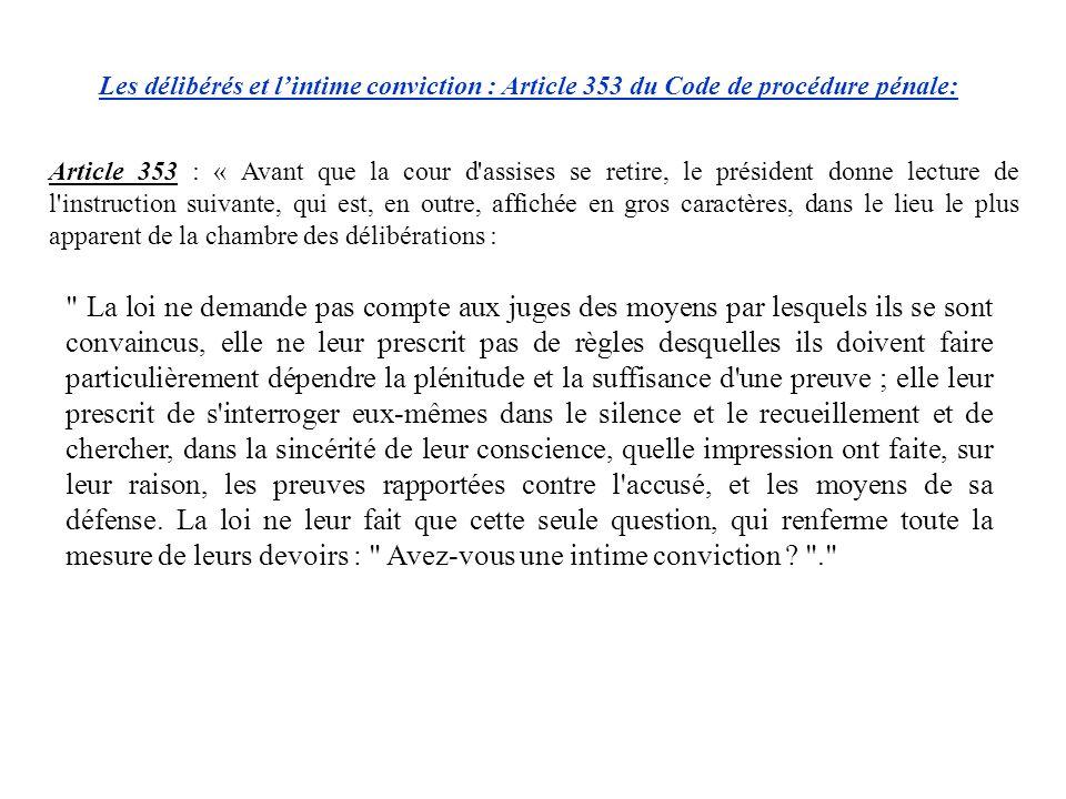 Les délibérés et l'intime conviction : Article 353 du Code de procédure pénale:
