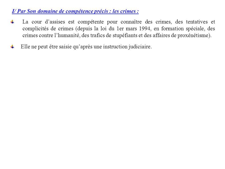 I/ Par Son domaine de compétence précis : les crimes :