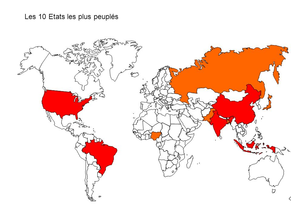 Les 10 Etats les plus peuplés
