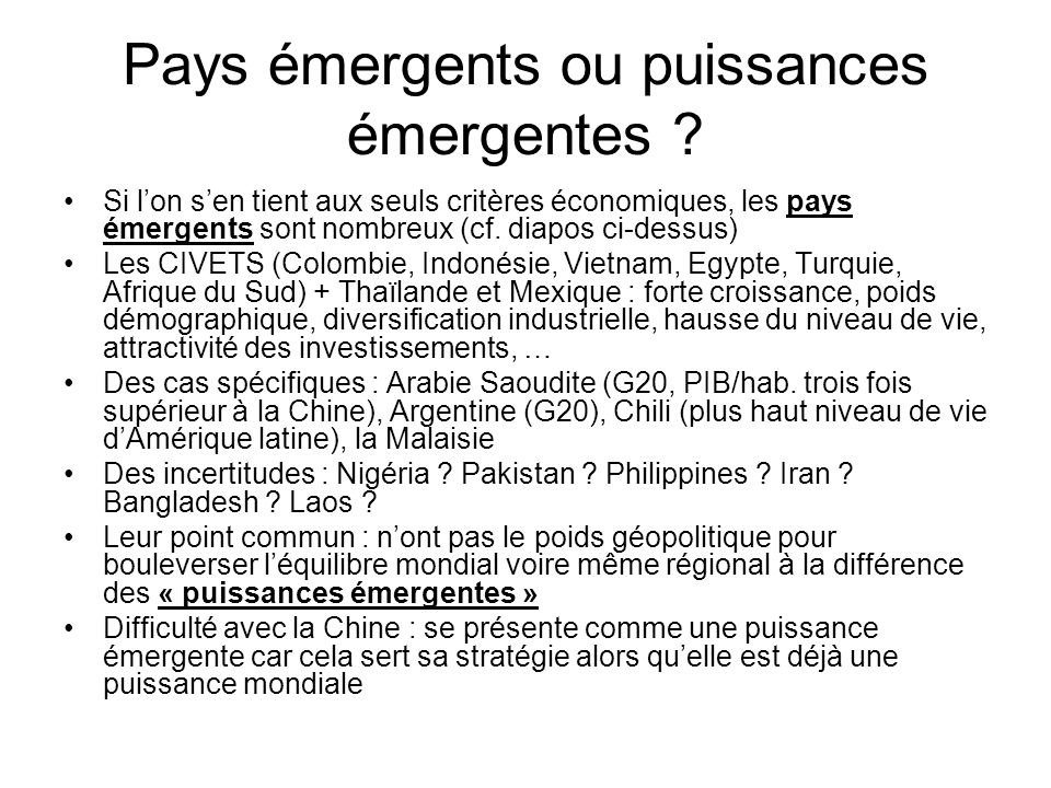 Pays émergents ou puissances émergentes