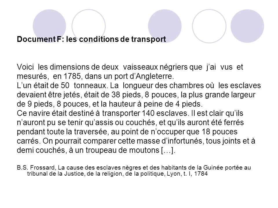 Document F: les conditions de transport