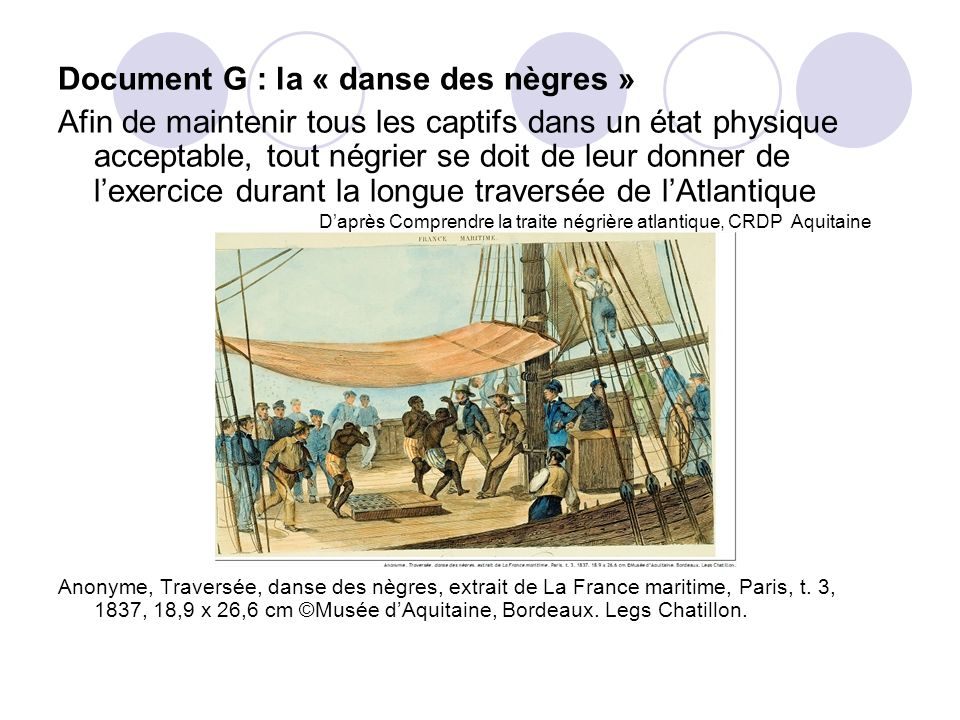 Document G : la « danse des nègres »