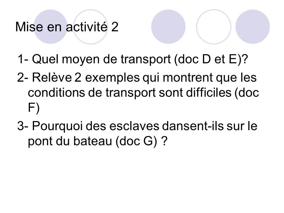 Mise en activité 2 1- Quel moyen de transport (doc D et E)