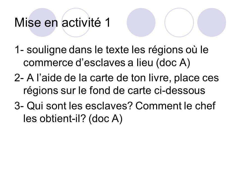 Mise en activité 1 1- souligne dans le texte les régions où le commerce d'esclaves a lieu (doc A)