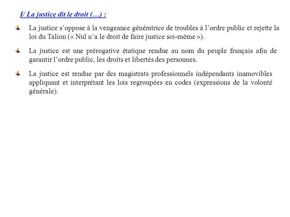 I/ La justice dit le droit (…) :