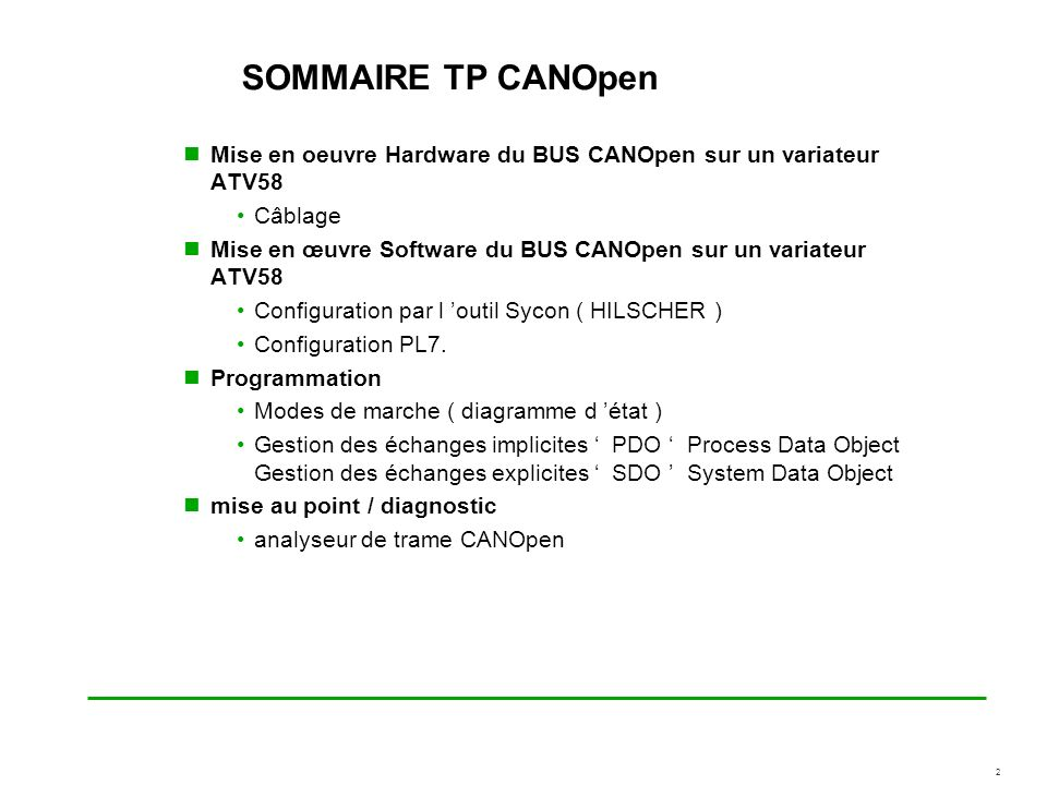 SOMMAIRE TP CANOpen Mise en oeuvre Hardware du BUS CANOpen sur un variateur ATV58. Câblage.