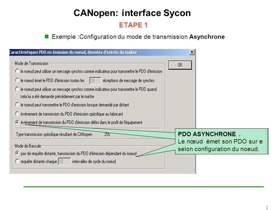 CANopen: interface Sycon ETAPE 1