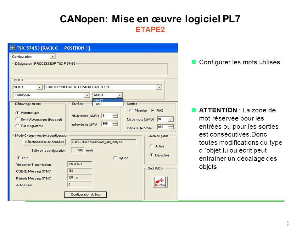 CANopen: Mise en œuvre logiciel PL7 ETAPE2