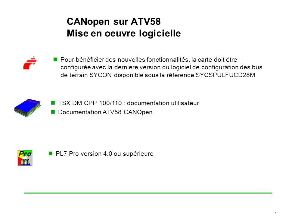 CANopen sur ATV58 Mise en oeuvre logicielle