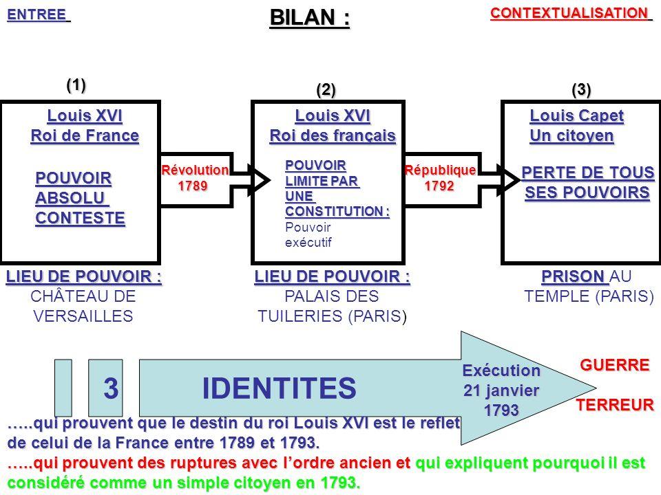 3 IDENTITES BILAN : (1) (2) (3) Louis XVI Roi de France Louis XVI