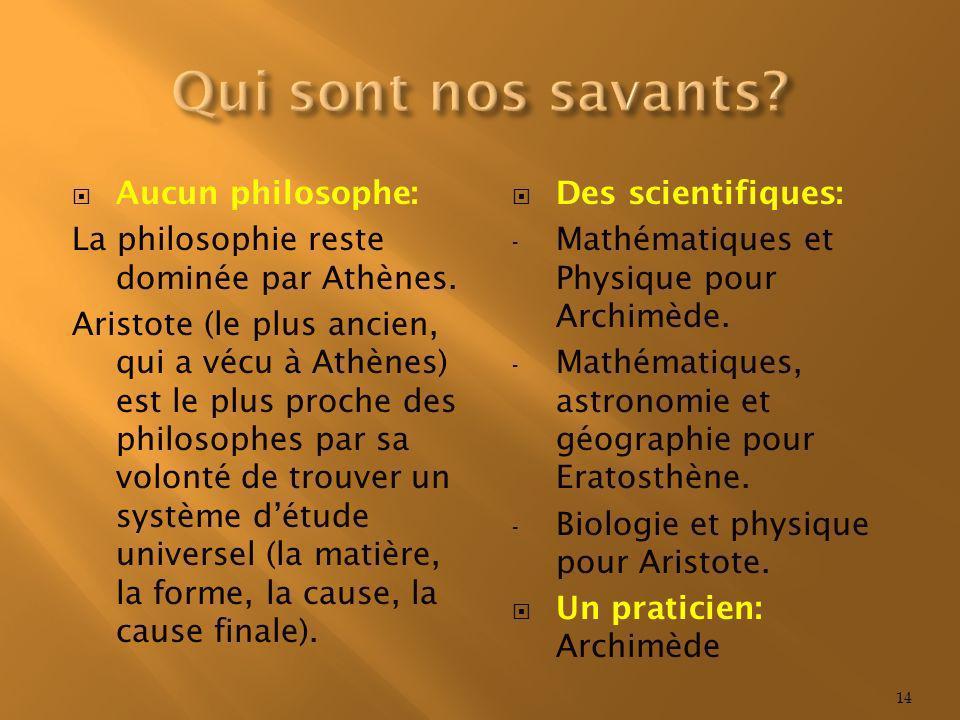 Qui sont nos savants Aucun philosophe: