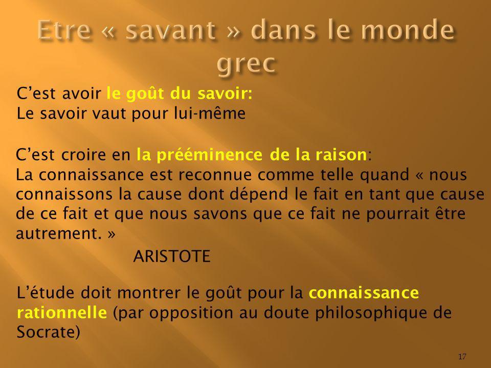 Etre « savant » dans le monde grec