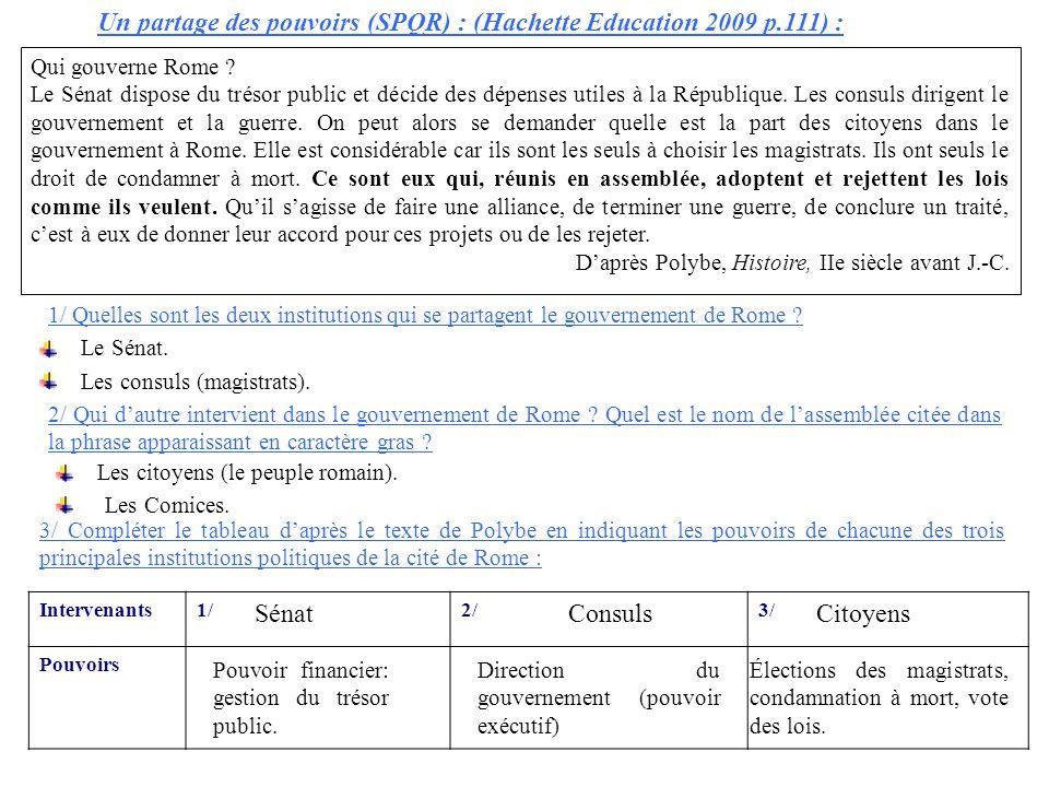 Un partage des pouvoirs (SPQR) : (Hachette Education 2009 p.111) :