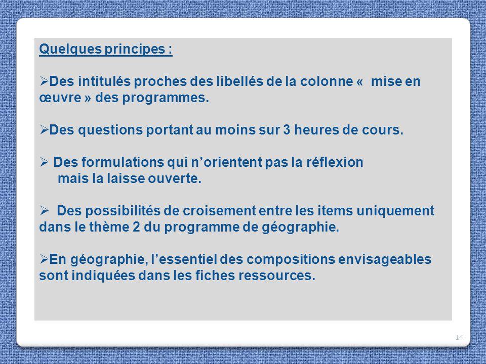 Quelques principes : Des intitulés proches des libellés de la colonne « mise en œuvre » des programmes.