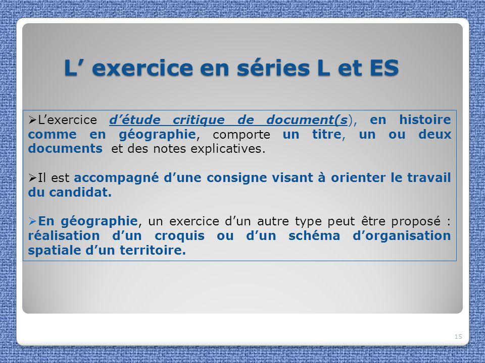 L' exercice en séries L et ES