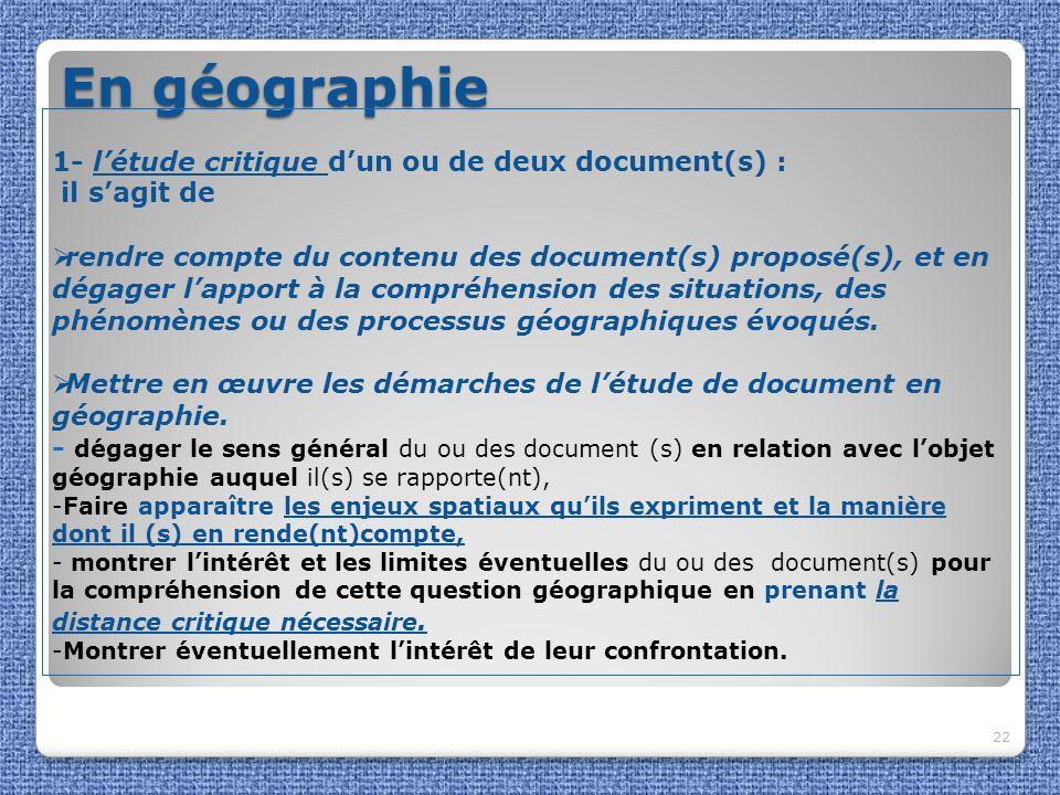 En géographie 1- l'étude critique d'un ou de deux document(s) :