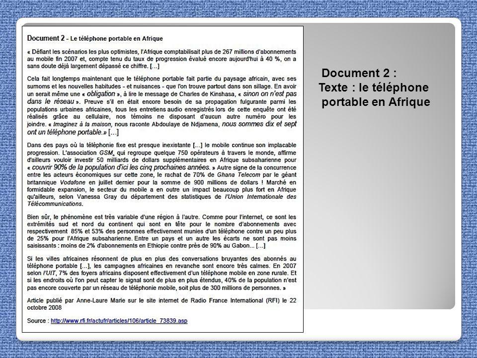 Document 2 : Texte : le téléphone portable en Afrique