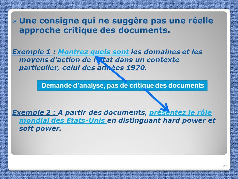 Une consigne qui ne suggère pas une réelle approche critique des documents.