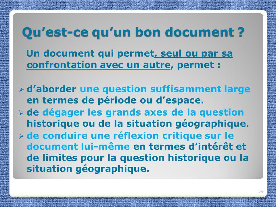 Qu'est-ce qu'un bon document