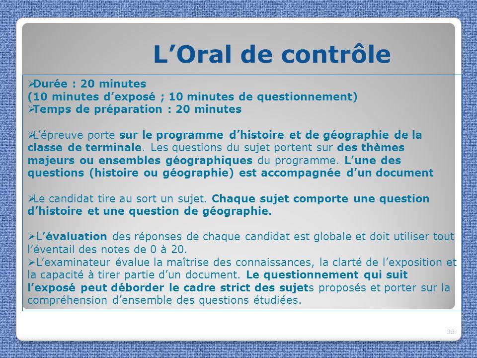 L'Oral de contrôle Durée : 20 minutes