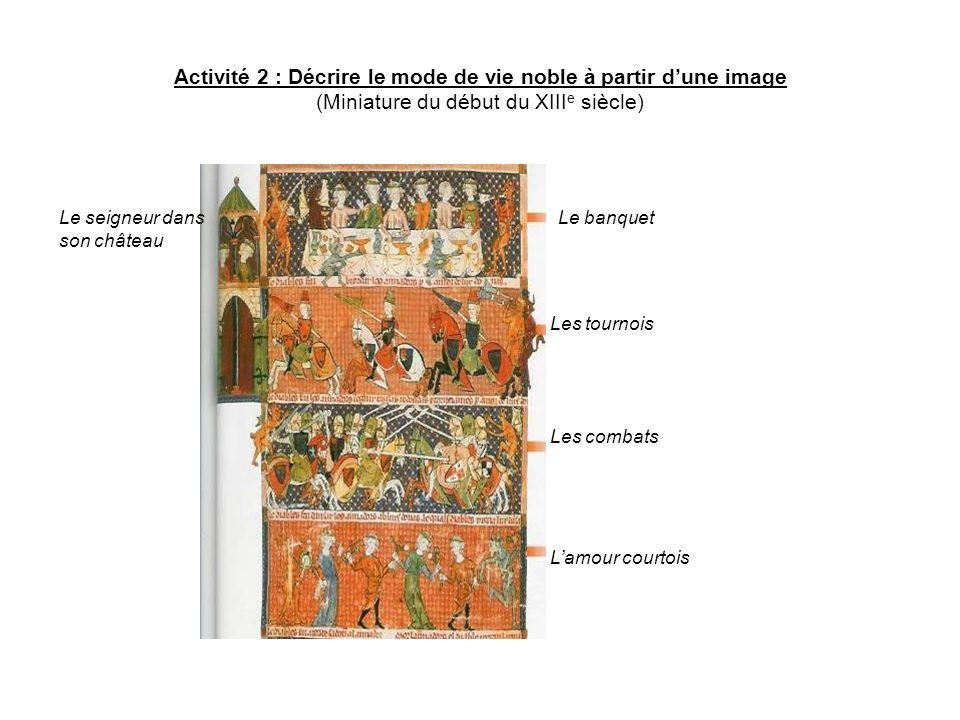 Activité 2 : Décrire le mode de vie noble à partir d'une image (Miniature du début du XIIIe siècle)
