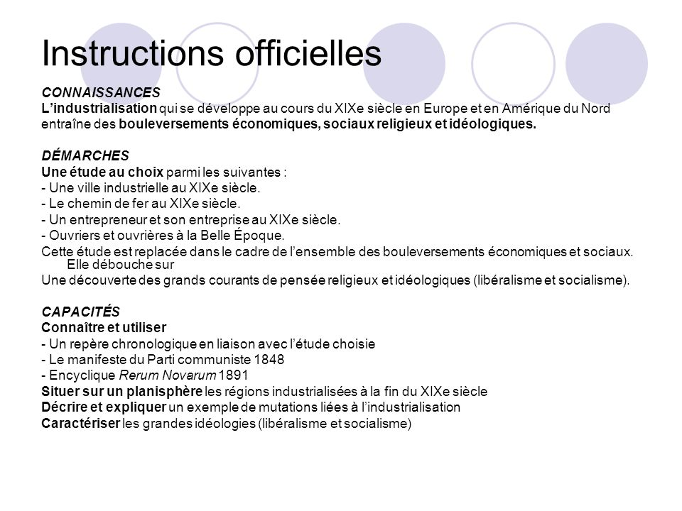 Instructions officielles