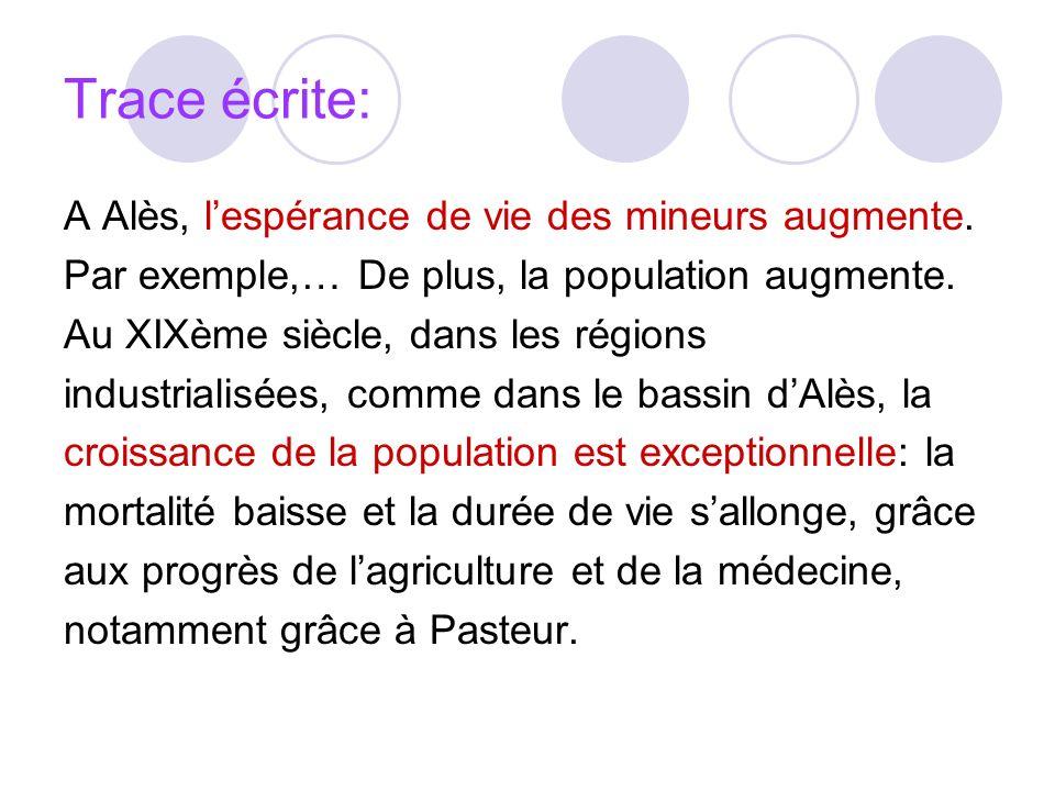 Trace écrite: A Alès, l'espérance de vie des mineurs augmente.