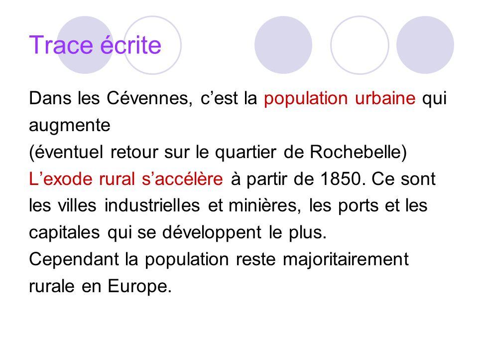 Trace écrite Dans les Cévennes, c'est la population urbaine qui
