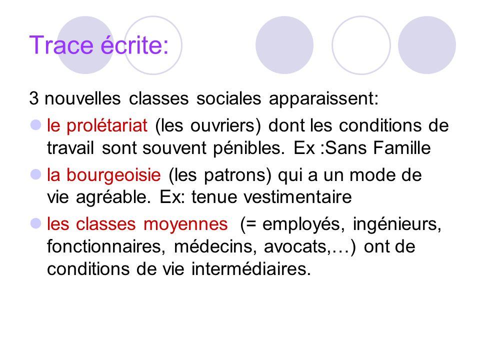Trace écrite: 3 nouvelles classes sociales apparaissent:
