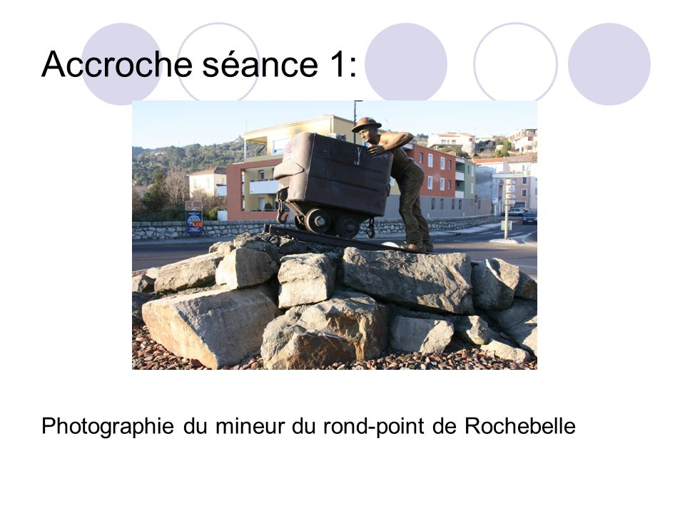 Accroche séance 1: Photographie du mineur du rond-point de Rochebelle