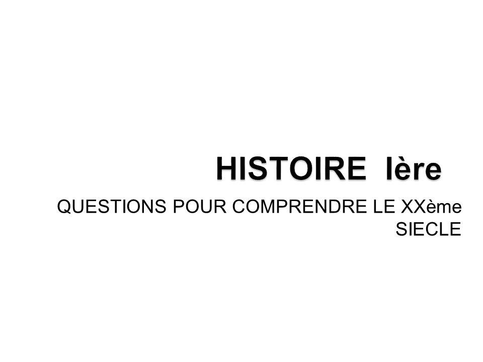 QUESTIONS POUR COMPRENDRE LE XXème SIECLE