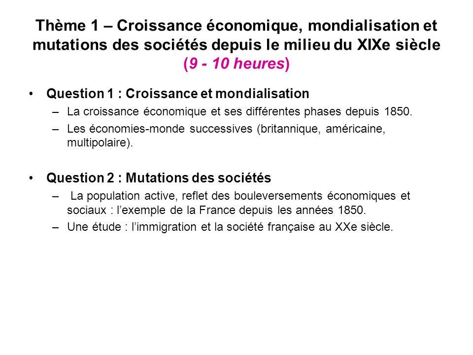 Thème 1 – Croissance économique, mondialisation et mutations des sociétés depuis le milieu du XIXe siècle (9 - 10 heures)