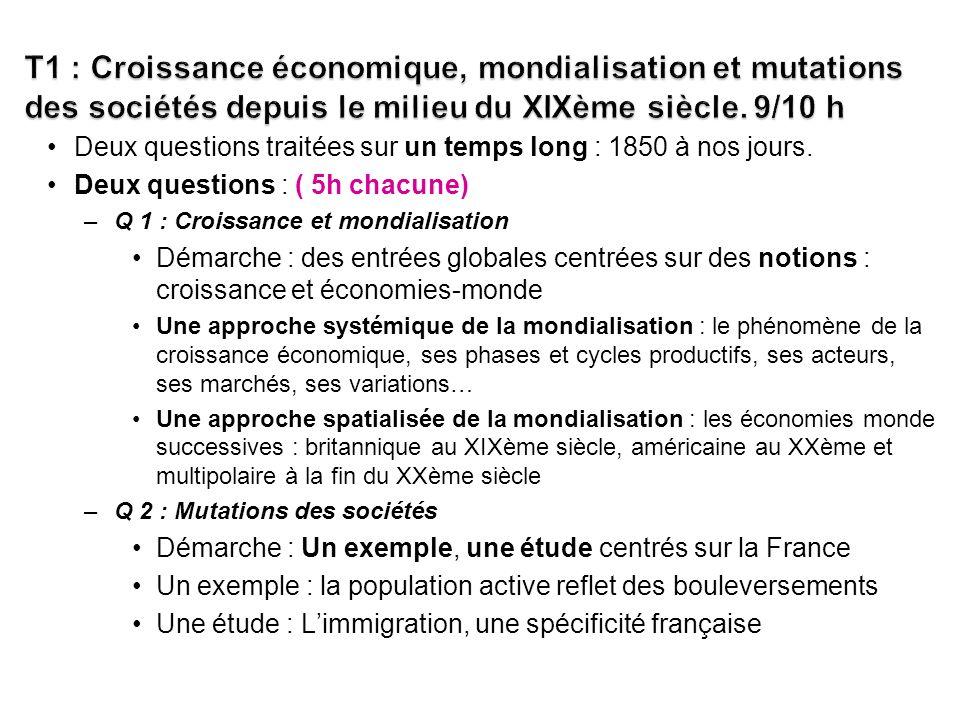 T1 : Croissance économique, mondialisation et mutations des sociétés depuis le milieu du XIXème siècle. 9/10 h
