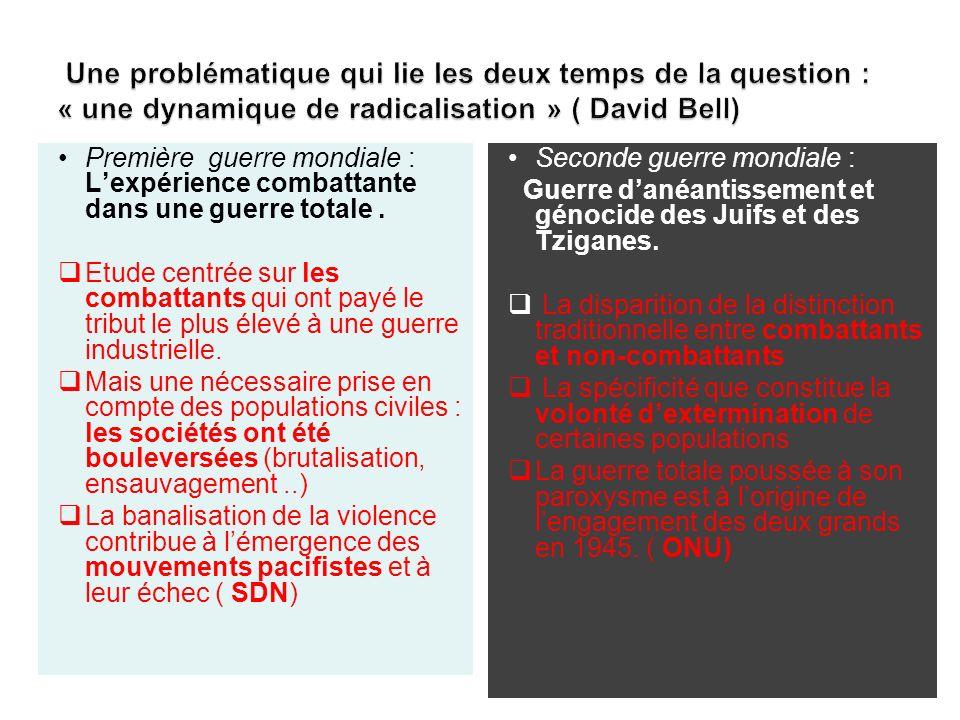 Une problématique qui lie les deux temps de la question : « une dynamique de radicalisation » ( David Bell)