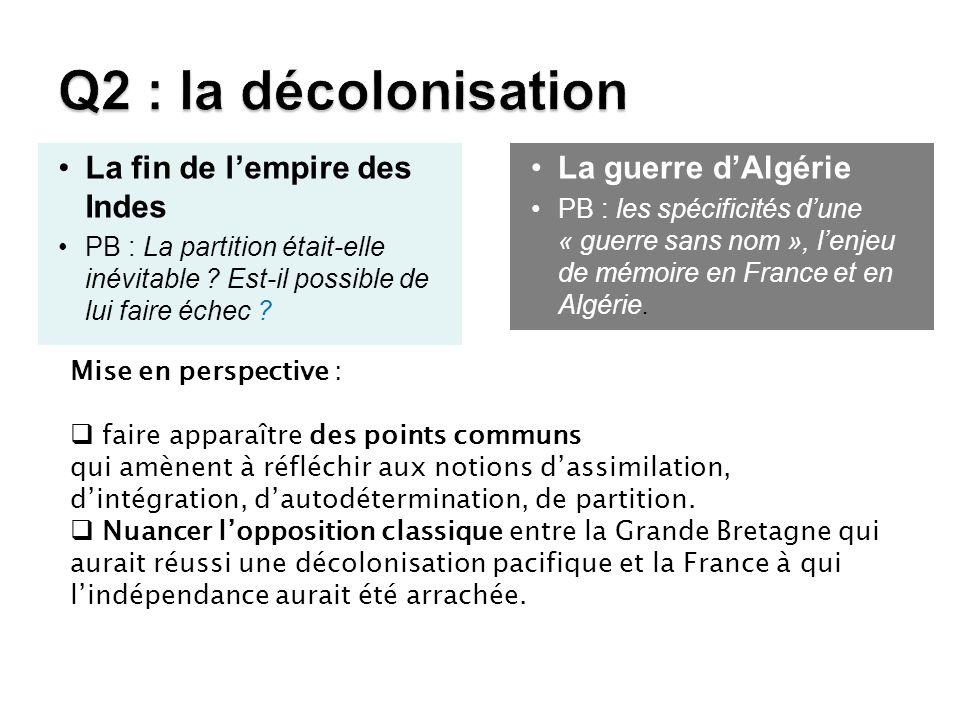 Q2 : la décolonisation La fin de l'empire des Indes