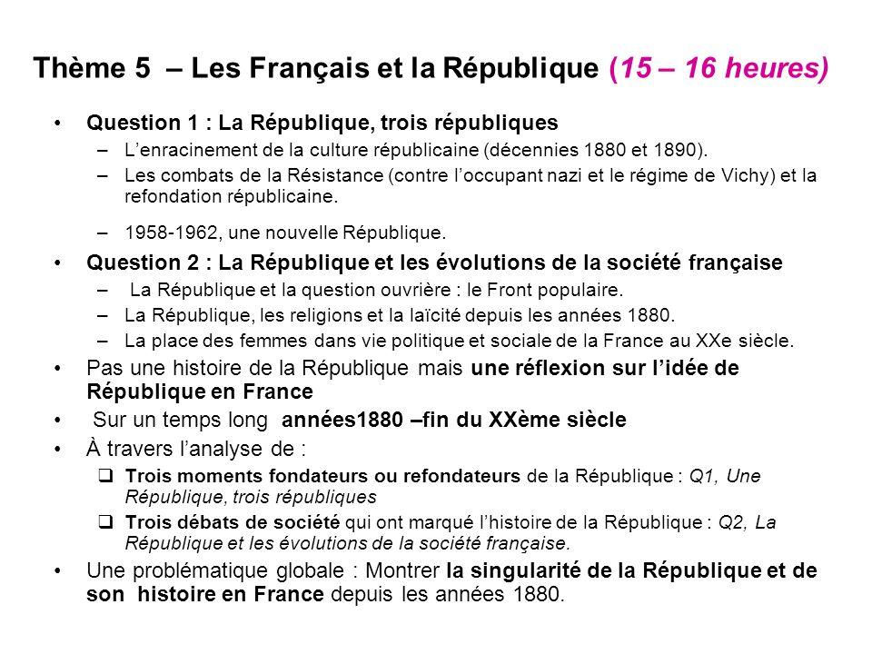 Thème 5 – Les Français et la République (15 – 16 heures)