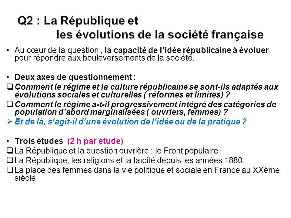 Q2 : La République et les évolutions de la société française