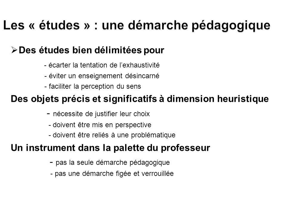 Les « études » : une démarche pédagogique