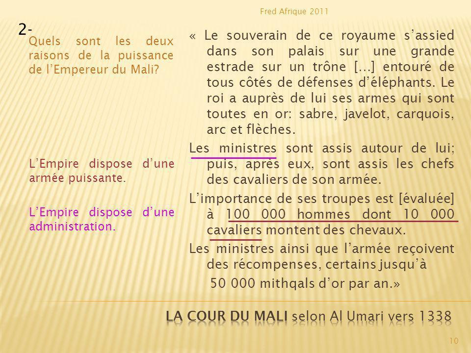 La cour du Mali selon Al Umari vers 1338