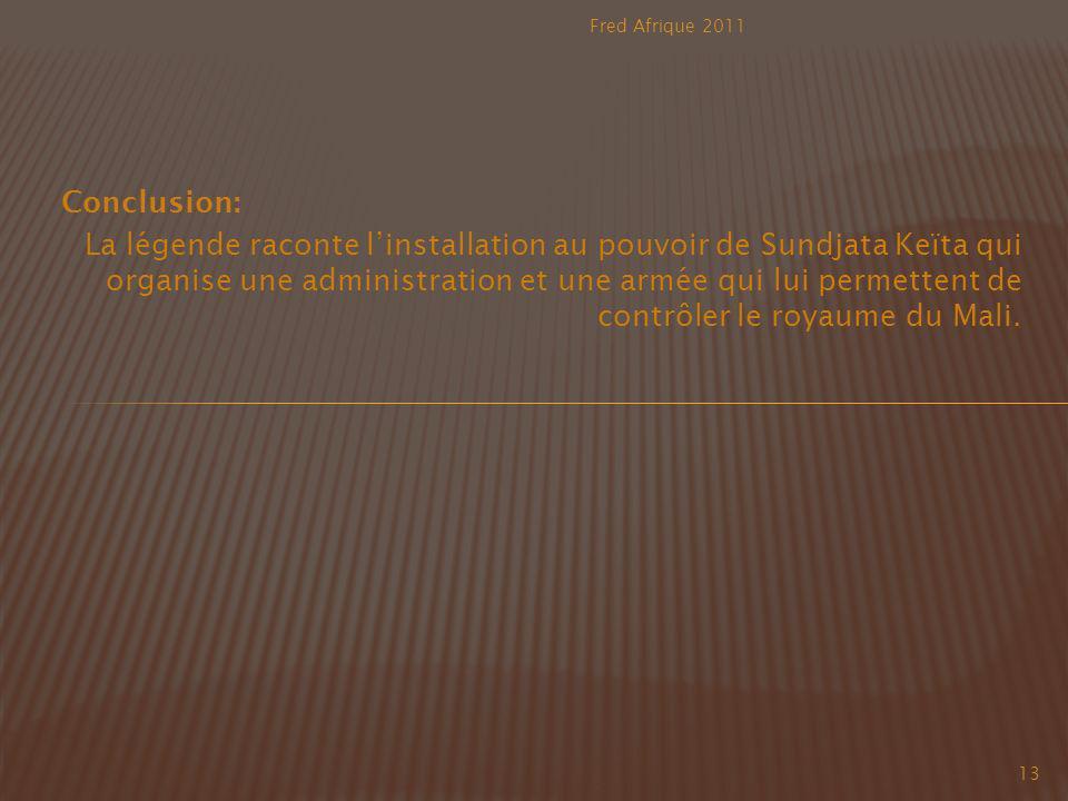 Fred Afrique 2011 Conclusion:
