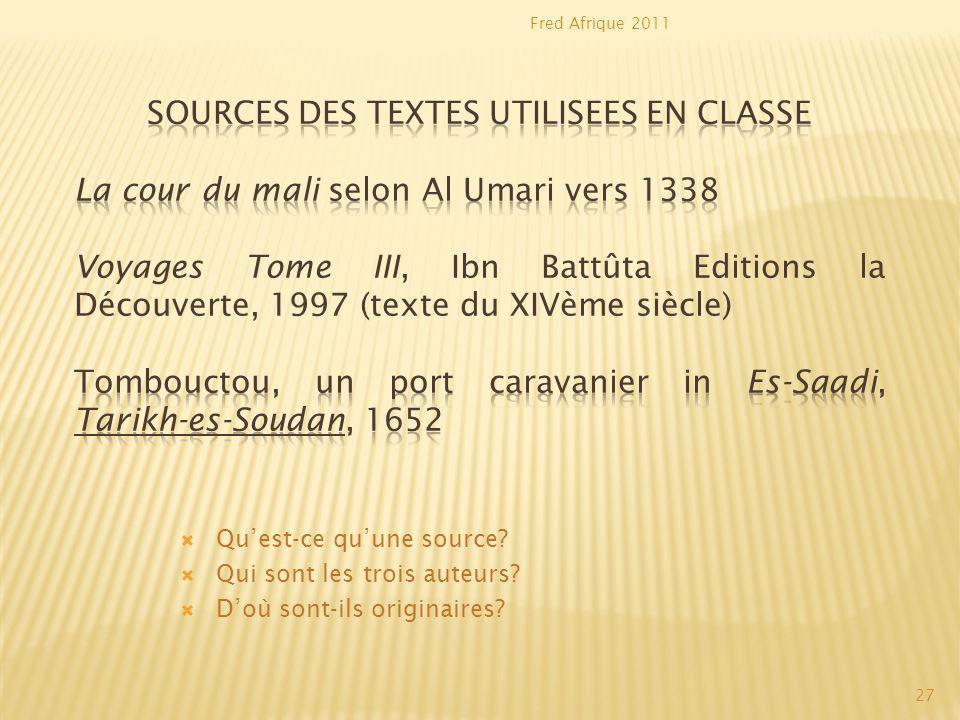 SOURCES DES TEXTES UTILISEES EN CLASSE