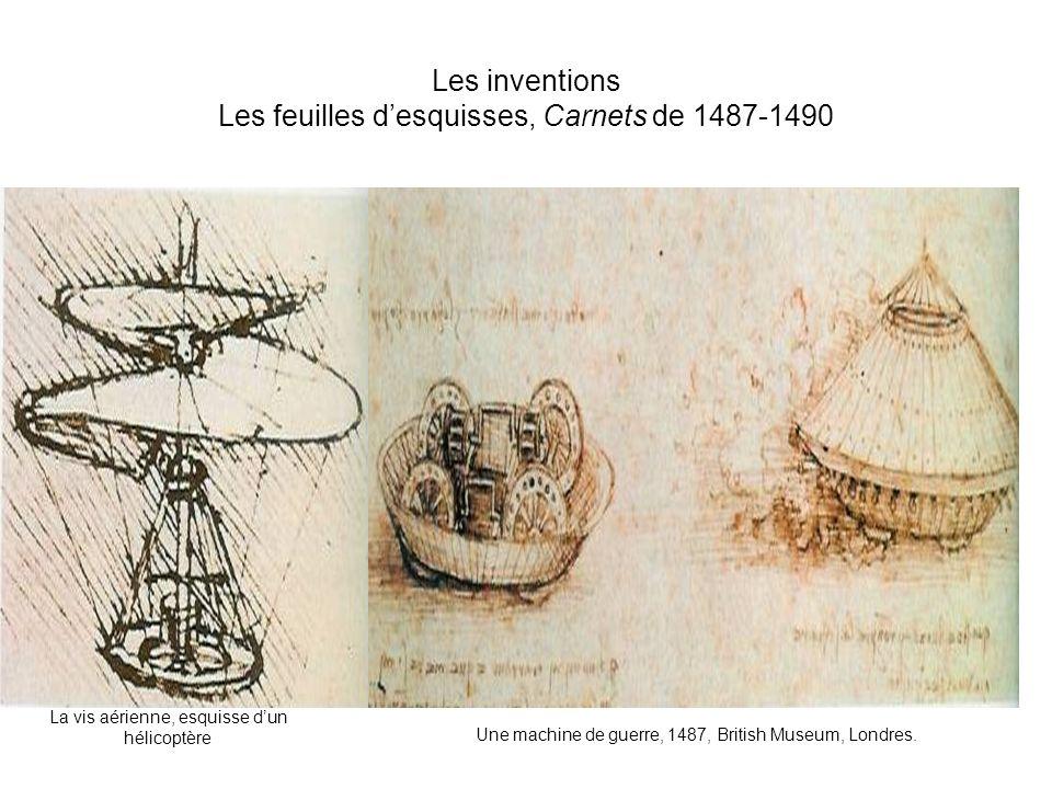 Les inventions Les feuilles d'esquisses, Carnets de 1487-1490