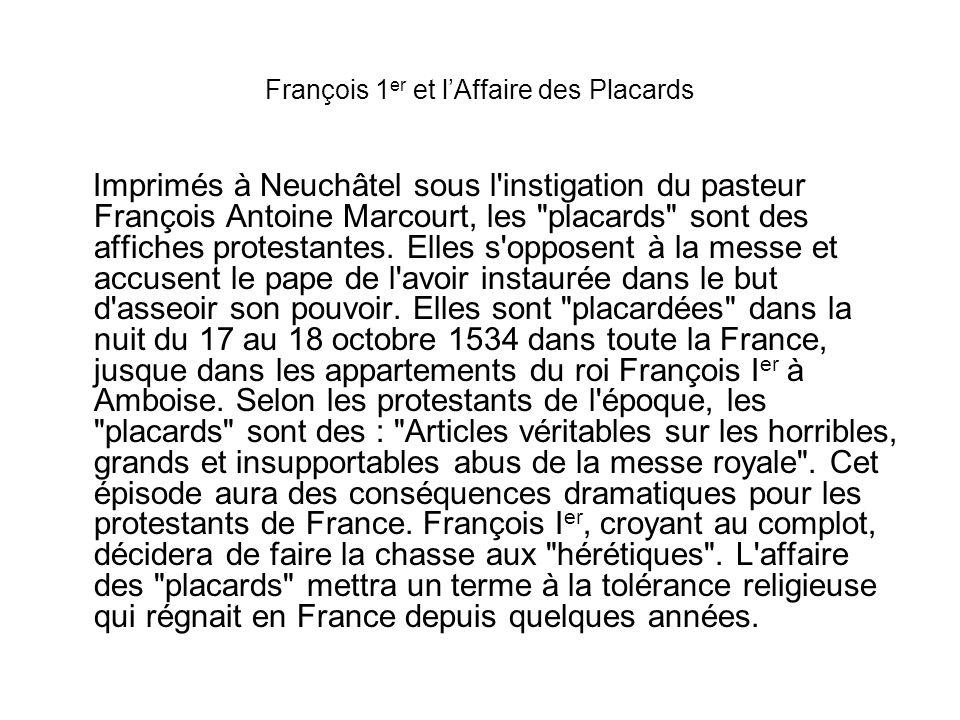 François 1er et l'Affaire des Placards