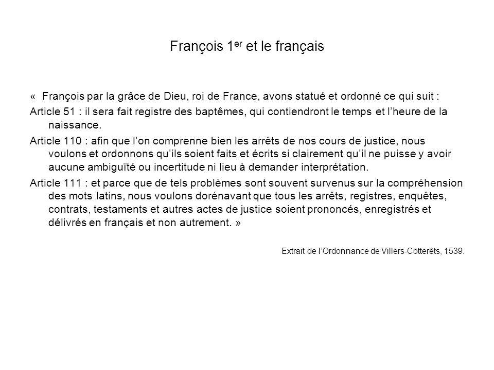 François 1er et le français