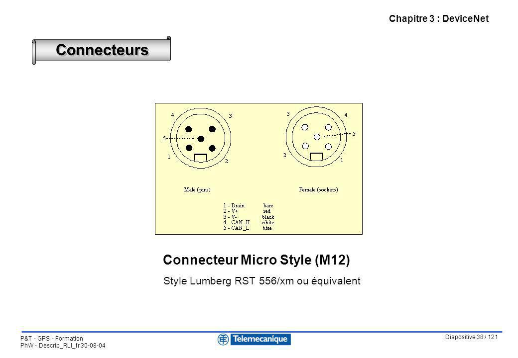 Connecteurs Connecteur Micro Style (M12) Notes :