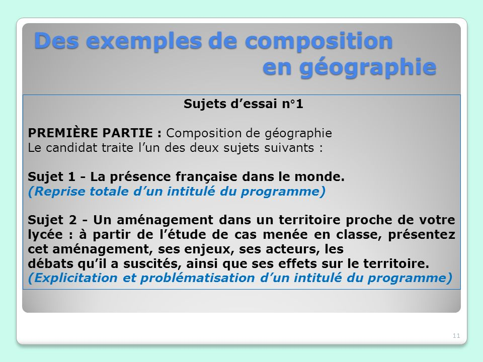 Des exemples de composition en géographie