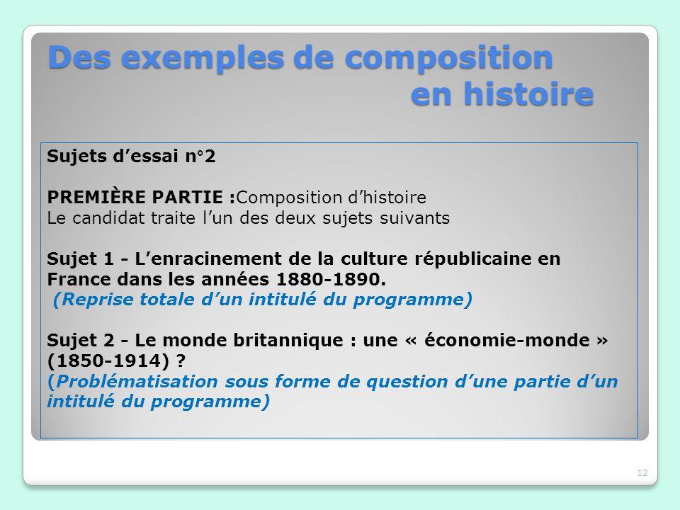 Des exemples de composition en histoire