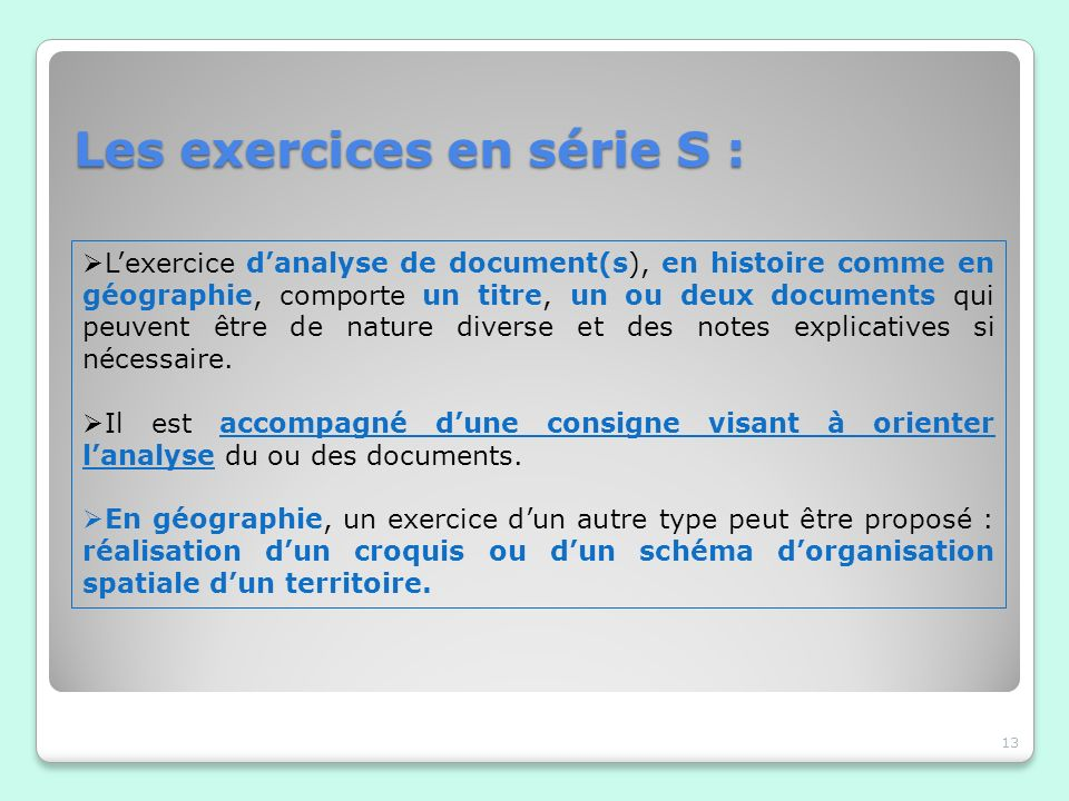 Les exercices en série S :