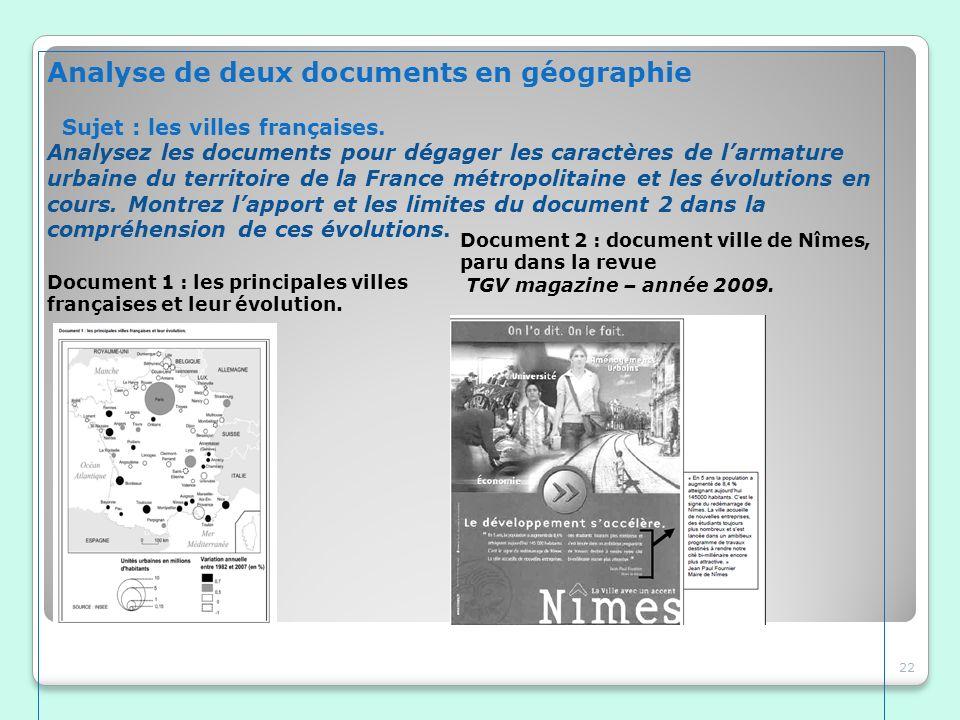 Analyse de deux documents en géographie